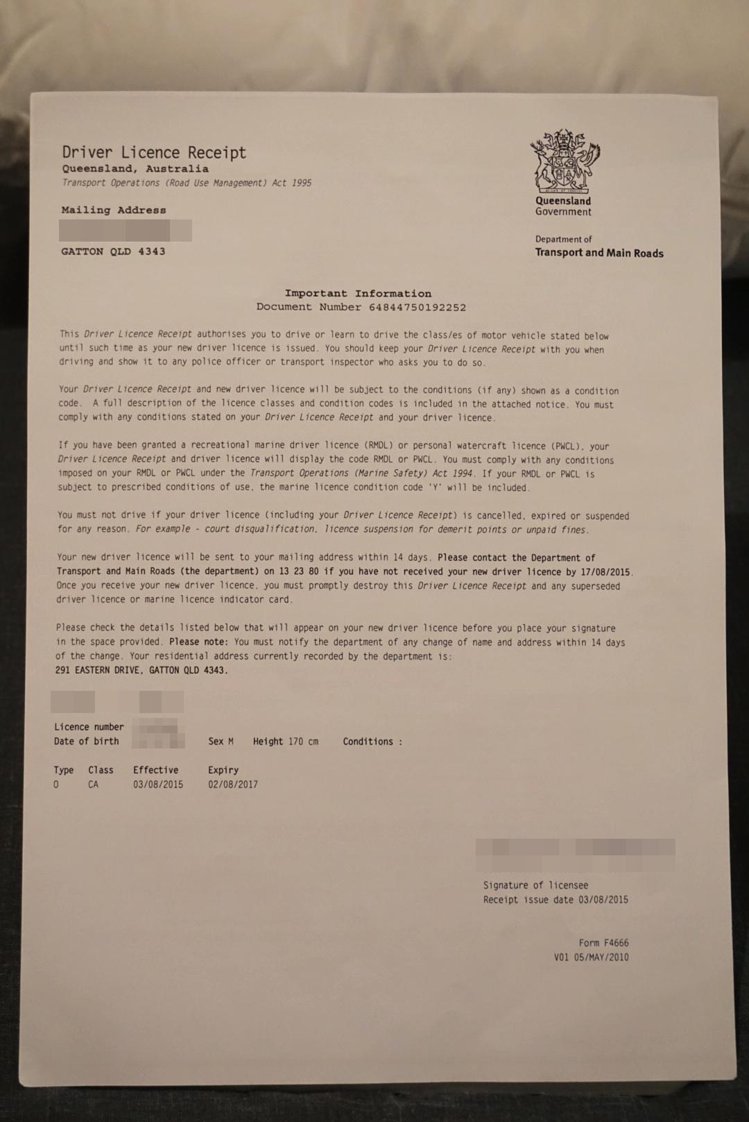 クイーンズランド 免許
