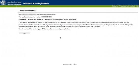 オーストラリア タックスファイルナンバー