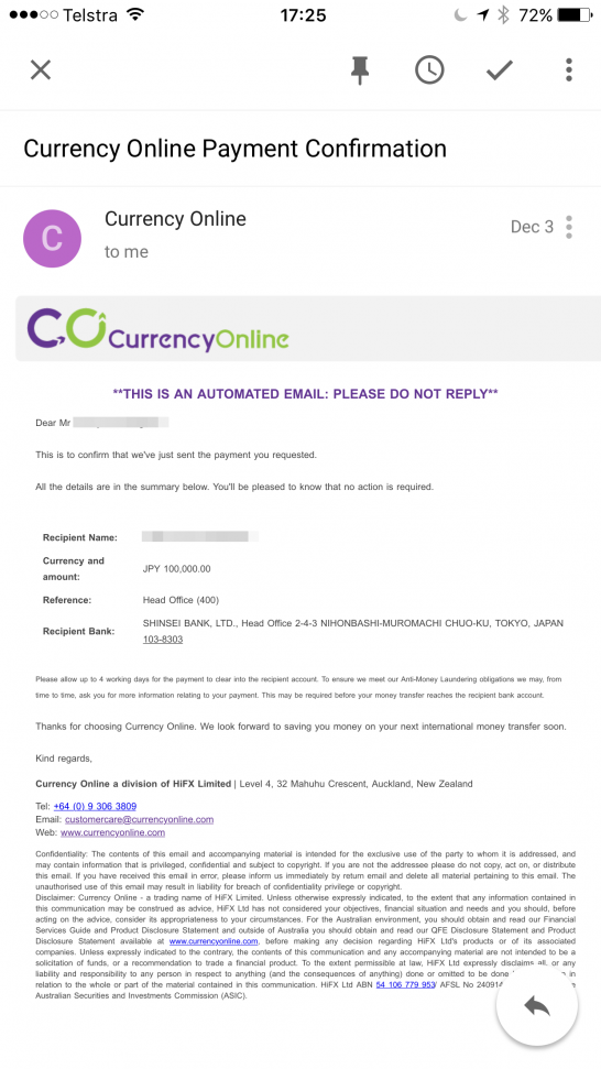 currency online payment confirmation
